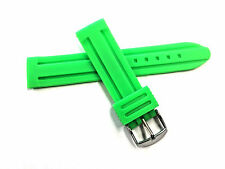 22mm Silicone  Waterproof Rubber PU Rubber Watch Band Strap Green