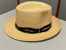Vintage BEE COOL Genuine Panama Handwoven Straw Hat Black Striped Band - Medium