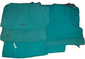 LOT of 3 SETS SCRUBS+1 TOP (7-pcs) All Tops are 3XL, Bottoms are 2XL. TEAL GREEN