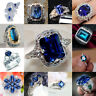 Exquisite Blue Sapphire Zircon Princess Wedding Ring 925 Silver Jewelry Size5-12
