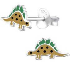 Boys Girls Sterling Silver Cute Dinosuar Stud Earrings Stegosaurus Pair - Boxed