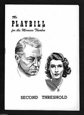 """Clive Brook """"SECOND THRESHOLD"""" Margaret Phillips / Philip Barry 1951 Playbill"""