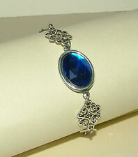 LACY FILIGREE VICTORIAN STYLE DEEP BLUE ACRYLIC CRYSTAL SILVER PLATED BRACELET
