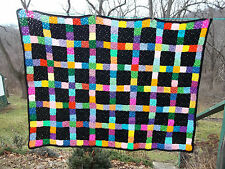 "Black Multi Color Granny Squares Crochet Afghan Throw Handmade 60"" X 45"" New"
