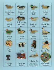 20-Lapel Pins - Assorted Game Birds Animals Liberty Bell Plane For Hats, Jacket