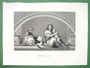 MADONNA del Sacco by del Sarto - Antique Print Engraving