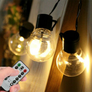 Battery/USB LED Fairy Garden Globe Bulb Ball String Lights Outdoor Indoor Remote