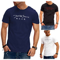 JACK & JONES T-Shirt Rundhals Herren Kurzarm Poloshirt Schwarz/NavyPrint NEU