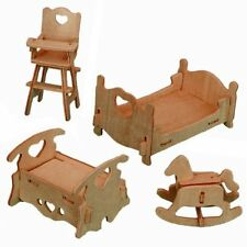 """3-D Wooden Puzzle - Dollhouse Bedroom Furniture Set Gift Item """"Brand New"""""""