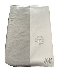 NEW WASHED LINEN SINGLE DUVET COVER SET H&M HOME LIGHT GREY