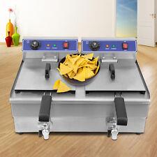 2x 3kW 16L Friggitrice Elettrica Deep Fryer Acciaio Inox Fast Food Friggitrici
