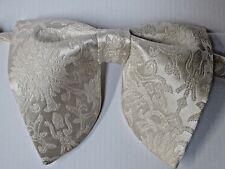 Handmade Oversized Brocade Bow tie Ivory Vintage style 70's Wedding Prom Gift