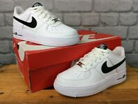NIKE AIR FORCE 1 07 WHITE BLACK LEATHER TRAINERS VARIOUS SIZES CHILDRENS LADIEST