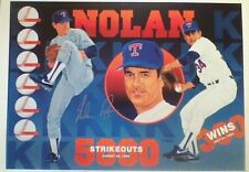 Signed Vernon Wells 978/1000 numbered 1991 Rangers HOF Nolan Ryan print - scarce