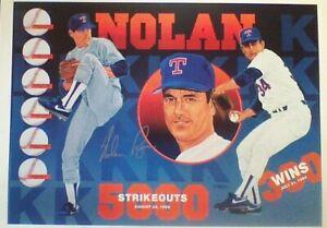 Signed Vernon Wells 89/1000 numbered 1991 Rangers HOF Nolan Ryan print - scarce