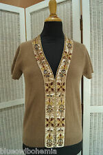 "MONSOON Beaded Cardigan 34"" Bust S Lambswool-Angora Short-Sleeve Jumper Sweater"