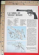 "1964 H & R MODEL 929 ""SIDE-KICK"" Revolver EXPLODED VIEWS Magazine Article 6437a"