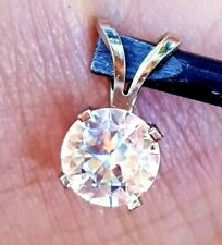 1ct Natural VS D E White Sapphire Solid 14K White Gold Pendant Necklace Promise