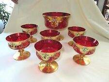 BOHEMIAN CZECH RUBY RED CRANBERRY HEAVY GOLD ENAMEL PEDESTAL BERRY / DESSERT SET