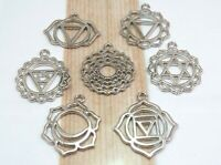 Complete CHAKRA Charm Collection, Antique Silver Charms, Mixed Set of 7 Charms