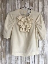 3.1 Phillip Lim Ivory Textured Ruffle Jewel Button Unique Top 2 * RARE!