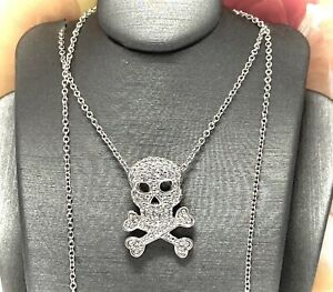 0.25ct Diamonique Diamond Skeleton Necklace 14k White Gold Over .925 Silver