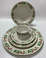 1 Setting Gibson Everyday Christmas Holly Gold Dinnerware China (5pcs)