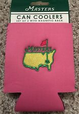 2018 Official MASTERS Magnetic Can Coolers (2) - GREEN AND PINK - Flag Pin!!