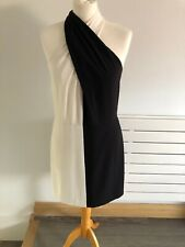 BNWT Halston Heritage Ladies Black & White Halter Dress Size US 6 UK 10
