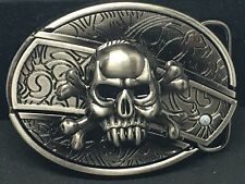 Skull and Crossbones Belt Buckle with Slide Out Knife, Very Unique item. Style B