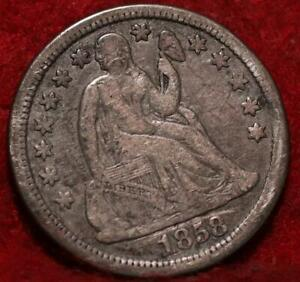1858 Silver Philadelphia Mint Seated Liberty Dime