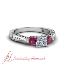 1 Ct Affordable Princess Cut 3 Stone Diamond and Pink Sapphire Engagement Ring