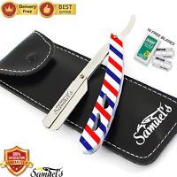 Professional Barber Pole Salon Straight Cut Throat Shaving Razor With 10 Blades