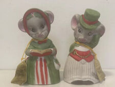 1980 Vintage Jasco Critter Bells Christmas Bisque Porcelain Mr & Mrs Mouse Nwt