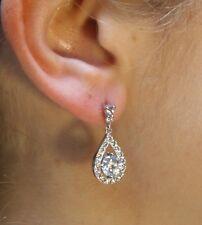 Quartz & Crown Round Cut Flawless CZ Cubic Zirconia Crystal Drop Earrings- 925