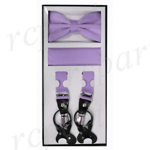 New Y back Men's Vesuvio Napoli Suspenders Bowtie Hankie clip on party lavender
