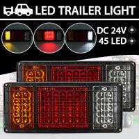 2x 24V 45LED Trailer Lights Rear Tail Indicators Truck Caravan Boat Ute Lamps