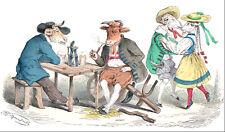 """GRANDVILLE """"EACH TO THEIR OWN PLEASURE"""" 1867 vintage original painted engraving"""