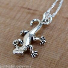 Gecko Necklace - 925 Sterling Silver Charm Necklace *NEW* Gecko Lizard Charm Pet