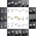 New Authentic 925 Sterling Silver Ear Stud Zircon Crystals Women Earrings Dangle