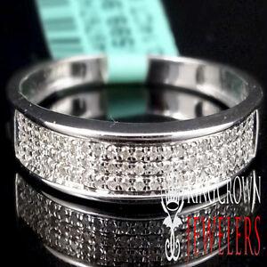 MEN'S NEW WHITE GOLD PLATED REAL GENUINE DIAMOND .20CT DIAMOND WEDDING RING BAND