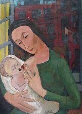 ANTIQUE AMERICAN FOLK ART BRUT OUTSIDER NURSING BROOKLYN MADONNA PAINTING NY NYC