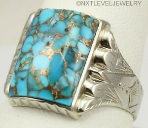 Antique 1920's Art Deco Mosaic Turquoise Engraved 10k Solid White Gold Mens Ring
