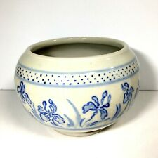 """Studio Art Pottery Cache Pot Planter Handcrafted Painted Iris Signed Astrid 5.5"""""""