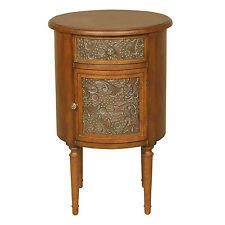 4281 - Walnut Round Storage Accent Table