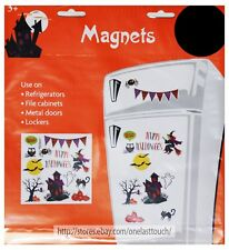 MIDWOOD* 13pc MAGNETS Decoration HALLOWEEN Bats+Cat+Pumpkins+Owl DECOR New! 1/9