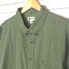 Haggar Men's Shirt Size XXL Button Down Green Plaid Long Sleeve