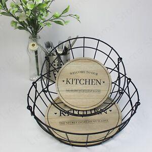 """Set of 2 Round Wire Storage Baskets & Handle. """"Welcome to our Kitchen"""" Slogan."""