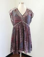 Ranna Gill Anthropologie Layered Tunic Dress Sz XSP PXS Maroon Blue Embroidered