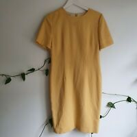 Vtg 80s Pure Wool Soft Yellow Pencil Dress S Anthea Crawford Knee Length Lined
